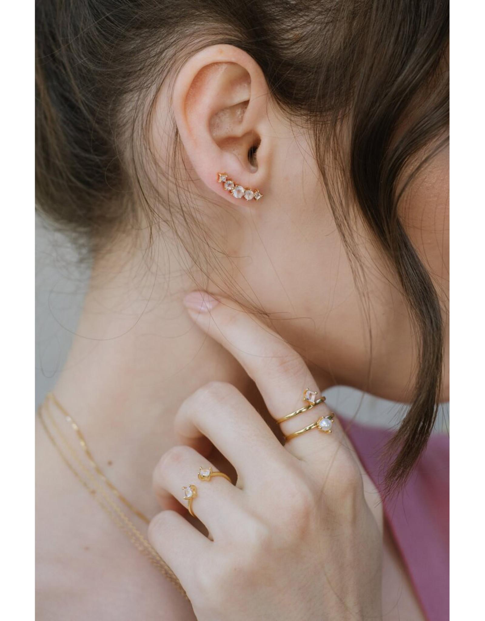 Sarah Mulder Jewelry Gold Cassie Ring - Rose Quartz + Pearl - 7