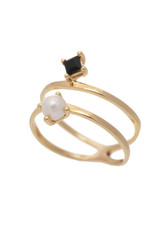 Sarah Mulder Jewelry Gold Cassie Ring - Onyx + Pearl - 5