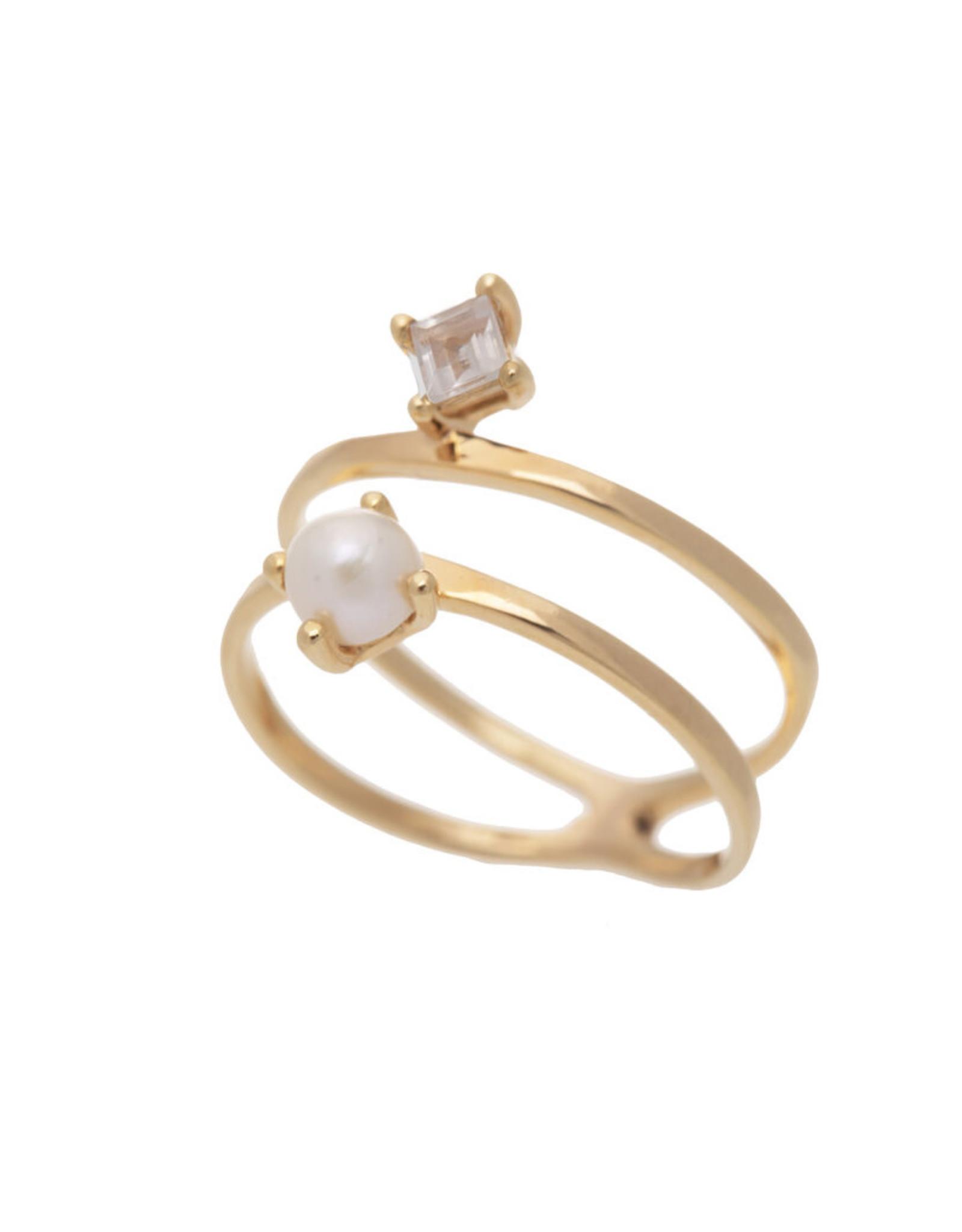 Sarah Mulder Jewelry Gold Cassie Ring - Rose Quartz + Pearl - 8