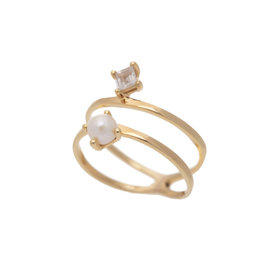 Sarah Mulder Jewelry Gold Cassie Ring - Rose Quartz + Pearl - 8