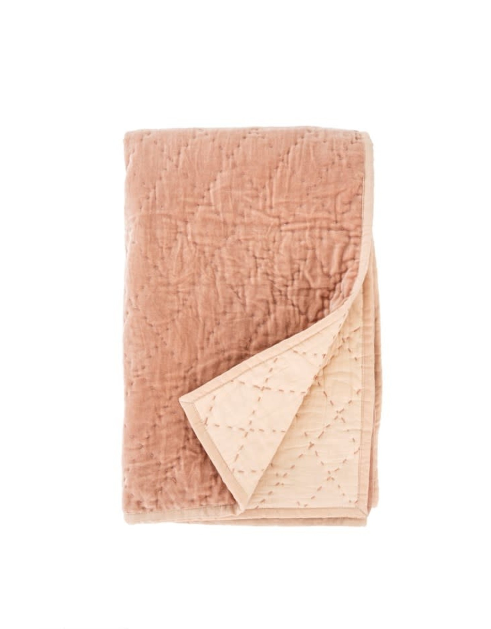 Indaba Quilted Velvet Throw - Dusty Rose