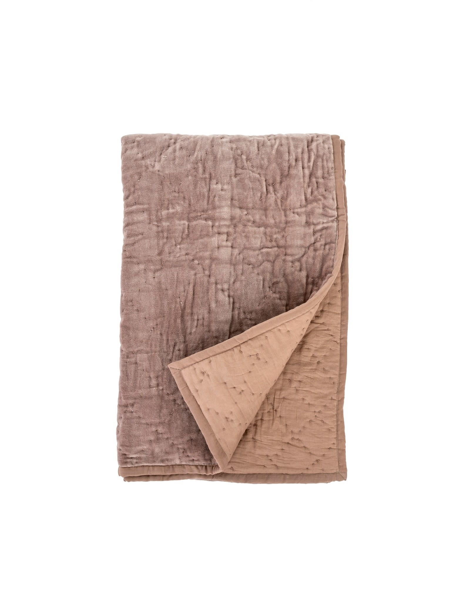 Indaba Quilted Velvet Throw - Taupe