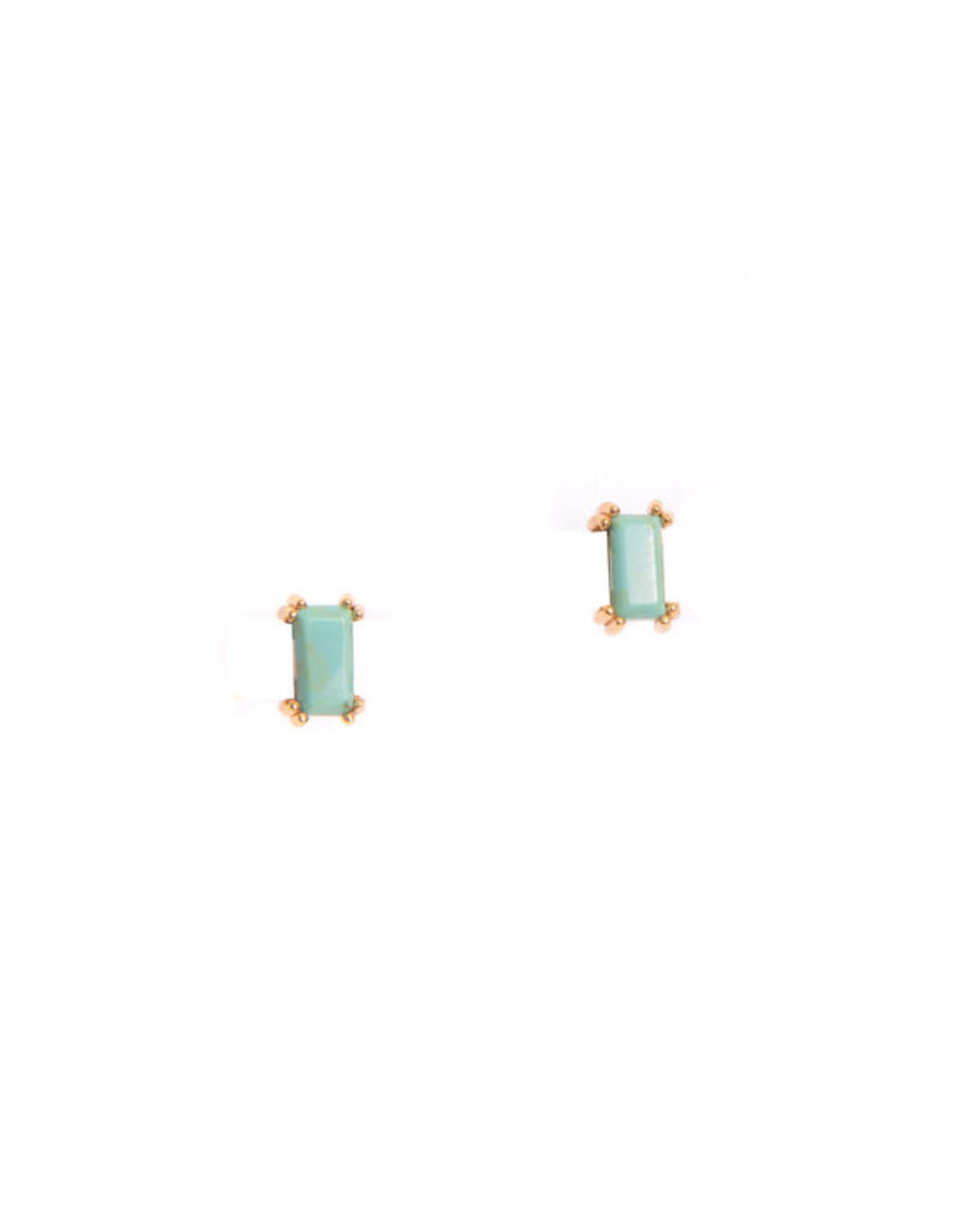 Hailey Gerrits Designs Baguette Studs - Green Turquoise