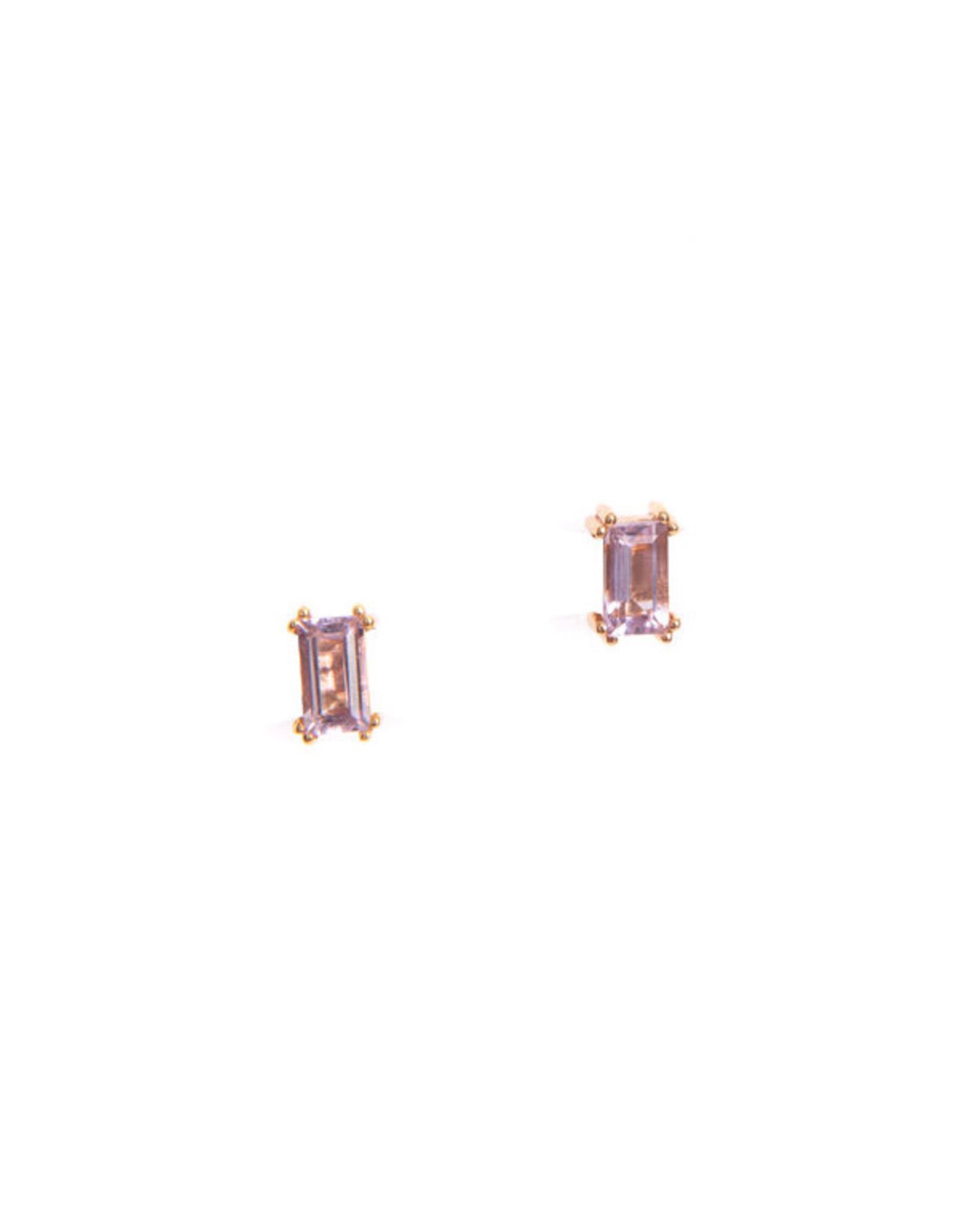 Hailey Gerrits Designs Baguette Studs - Pink Amethyst