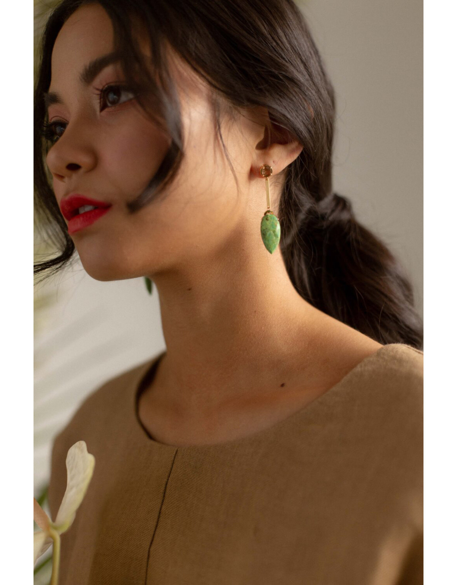 Hailey Gerrits Designs Amazon Earrings - Green Turquoise