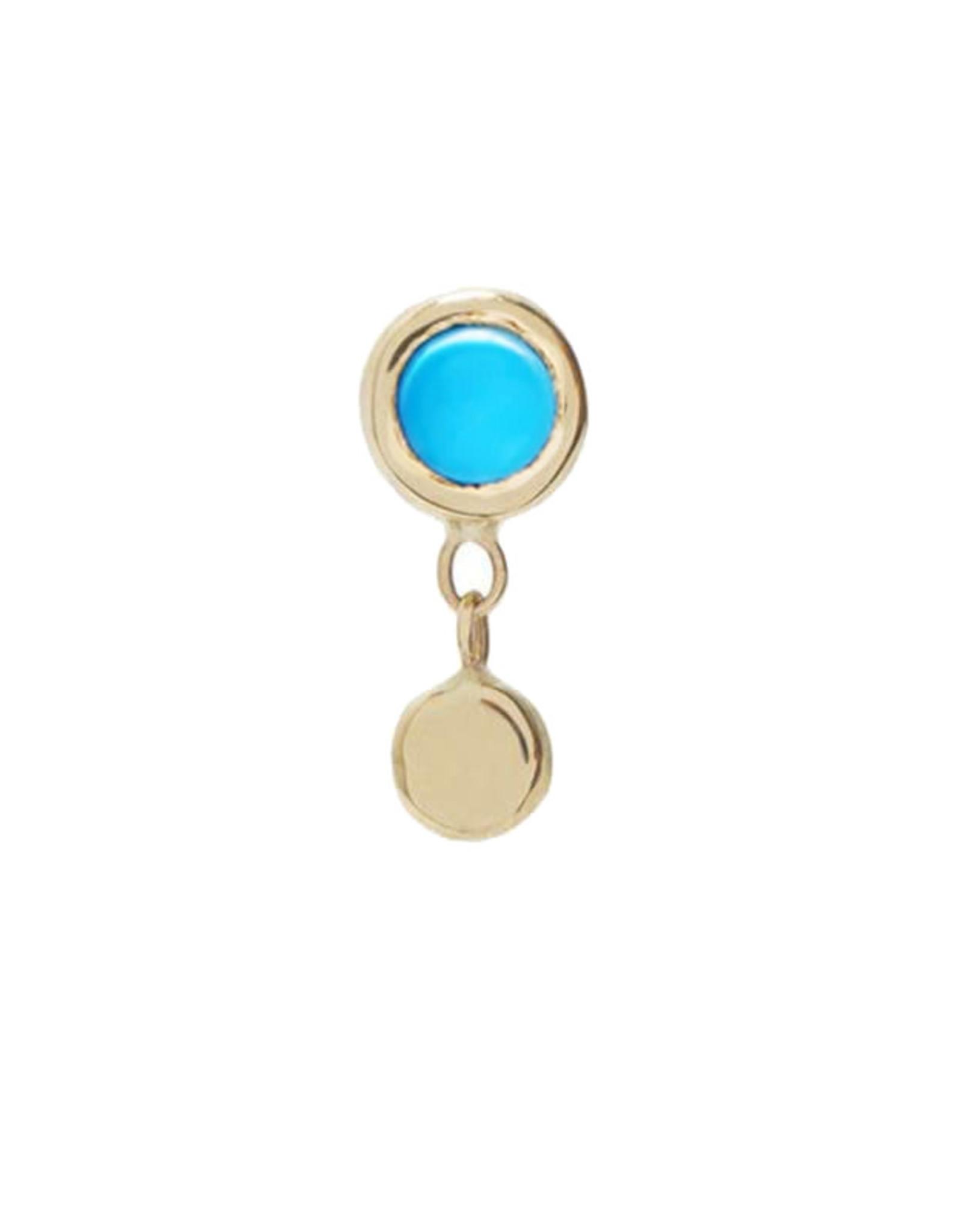 Scosha Tiny Bezel Gold Stud - Turquoise