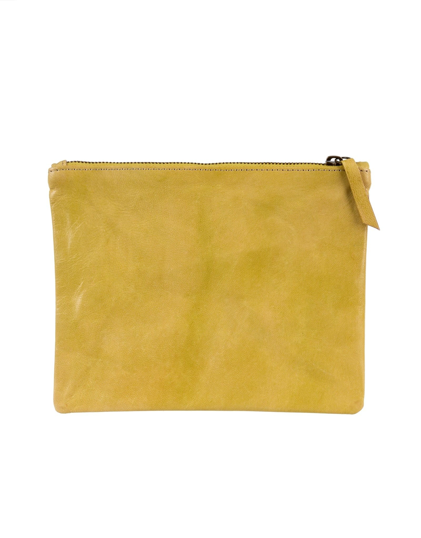 Indaba Artisan Leather Pouch - Lime