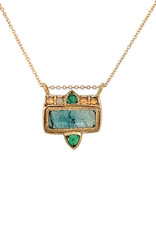 Lorak Jewelry Opal and Emerald Frame Necklace