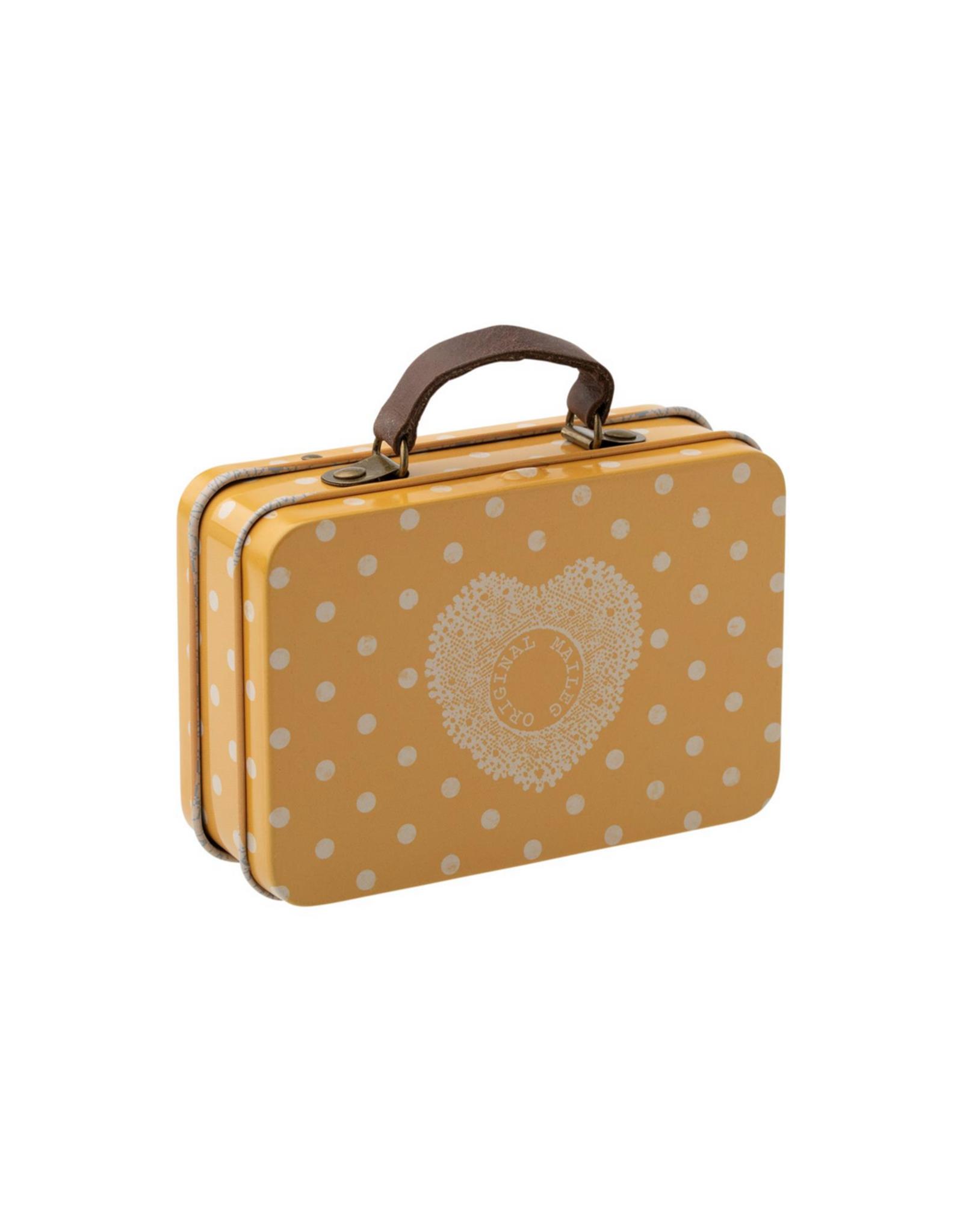 Maileg Metal Suitcase - Yellow + Cream Polkadots