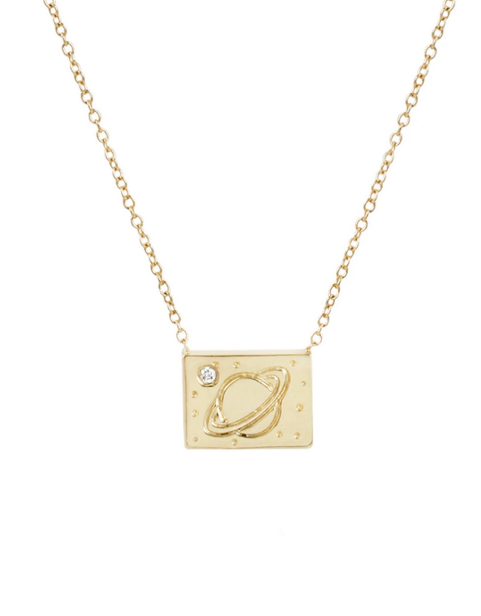 Aili Saturn Postcard Charm Necklace