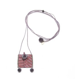Kalosoma Necklace of Silk Cord with Leather Pouch