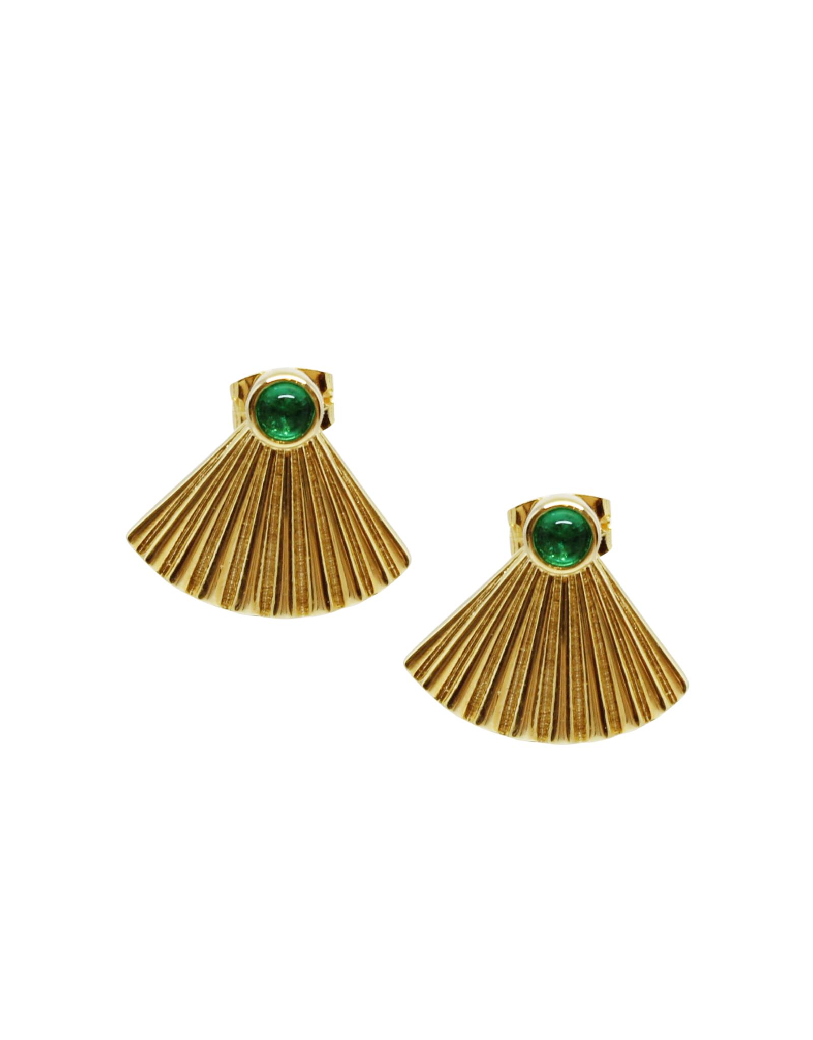 Vayu Jewels Vintage Fan Studs - Emerald Green