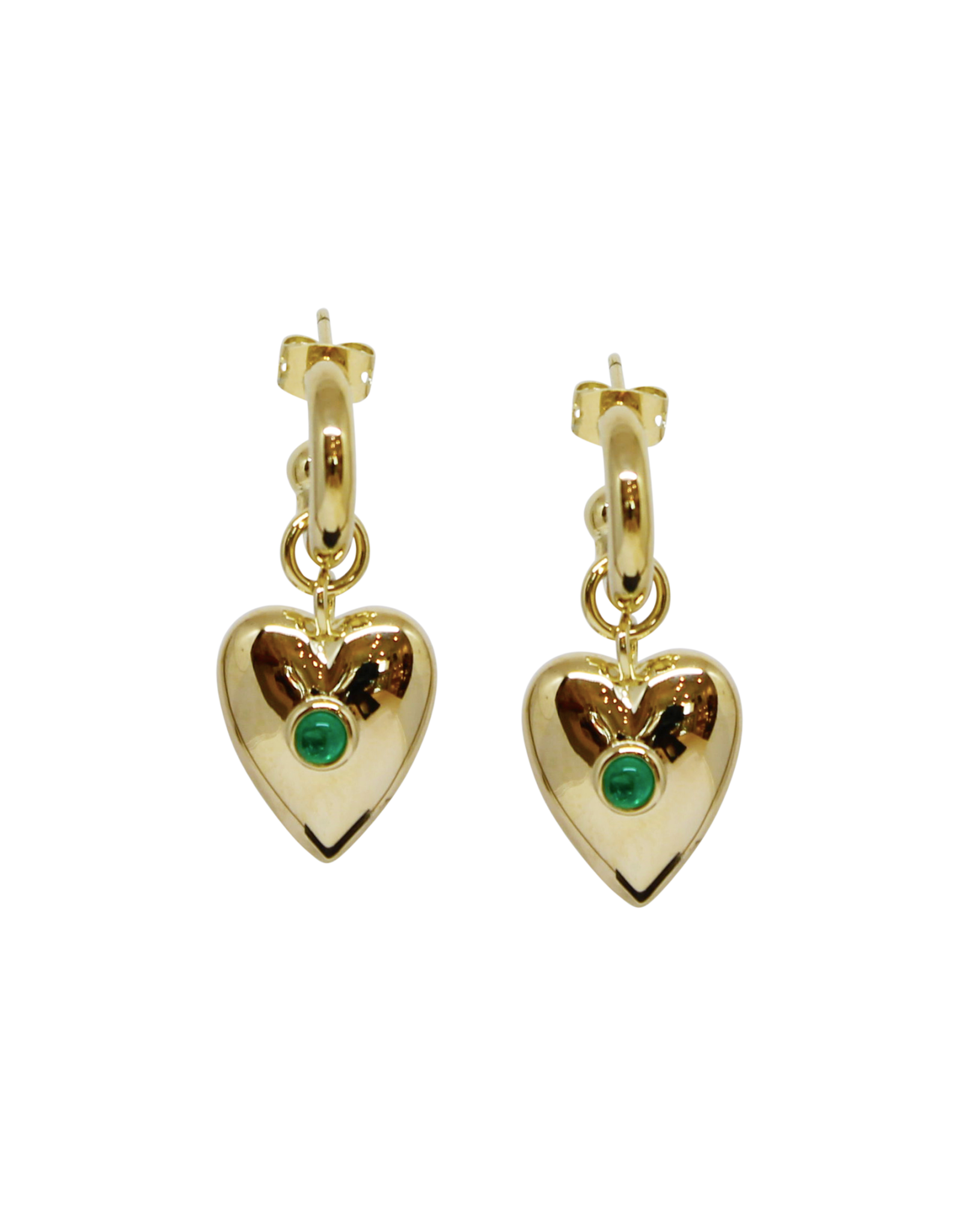 Vayu Jewels Ines Hoops - Emerald Green