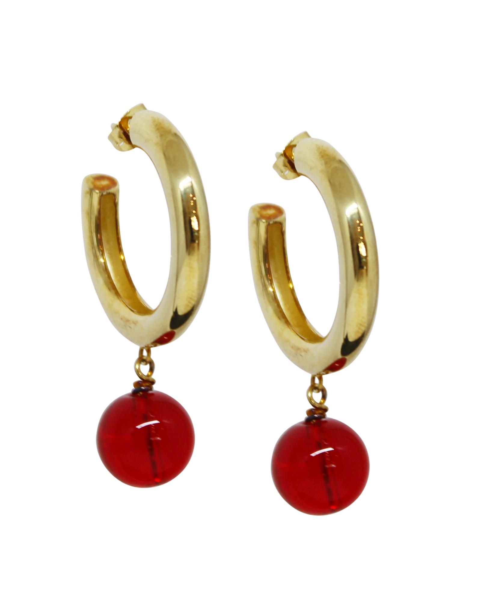 Vayu Jewels Elena Hoops - Red