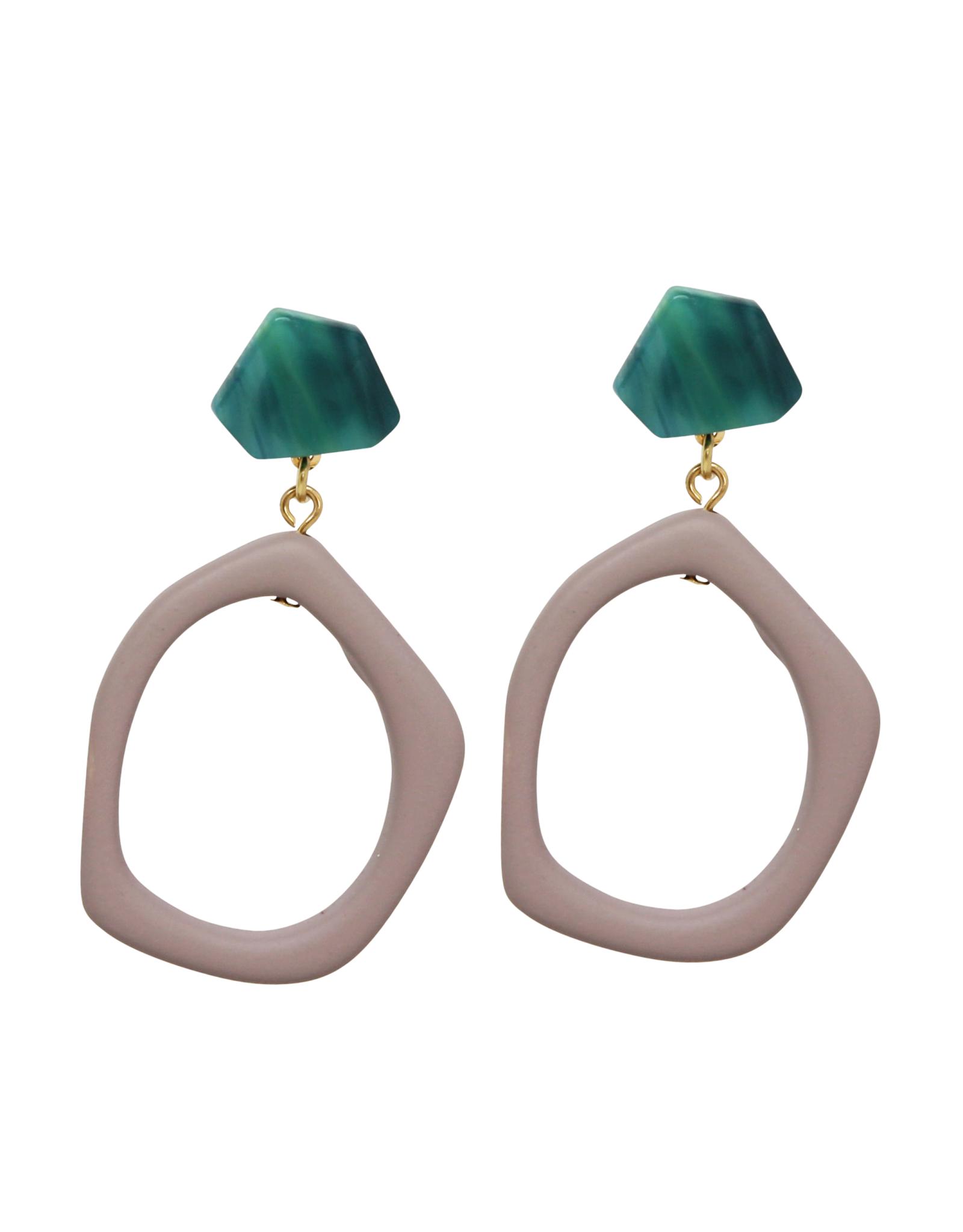 Vayu Jewels Grecia Earrings - Emerald + Putty
