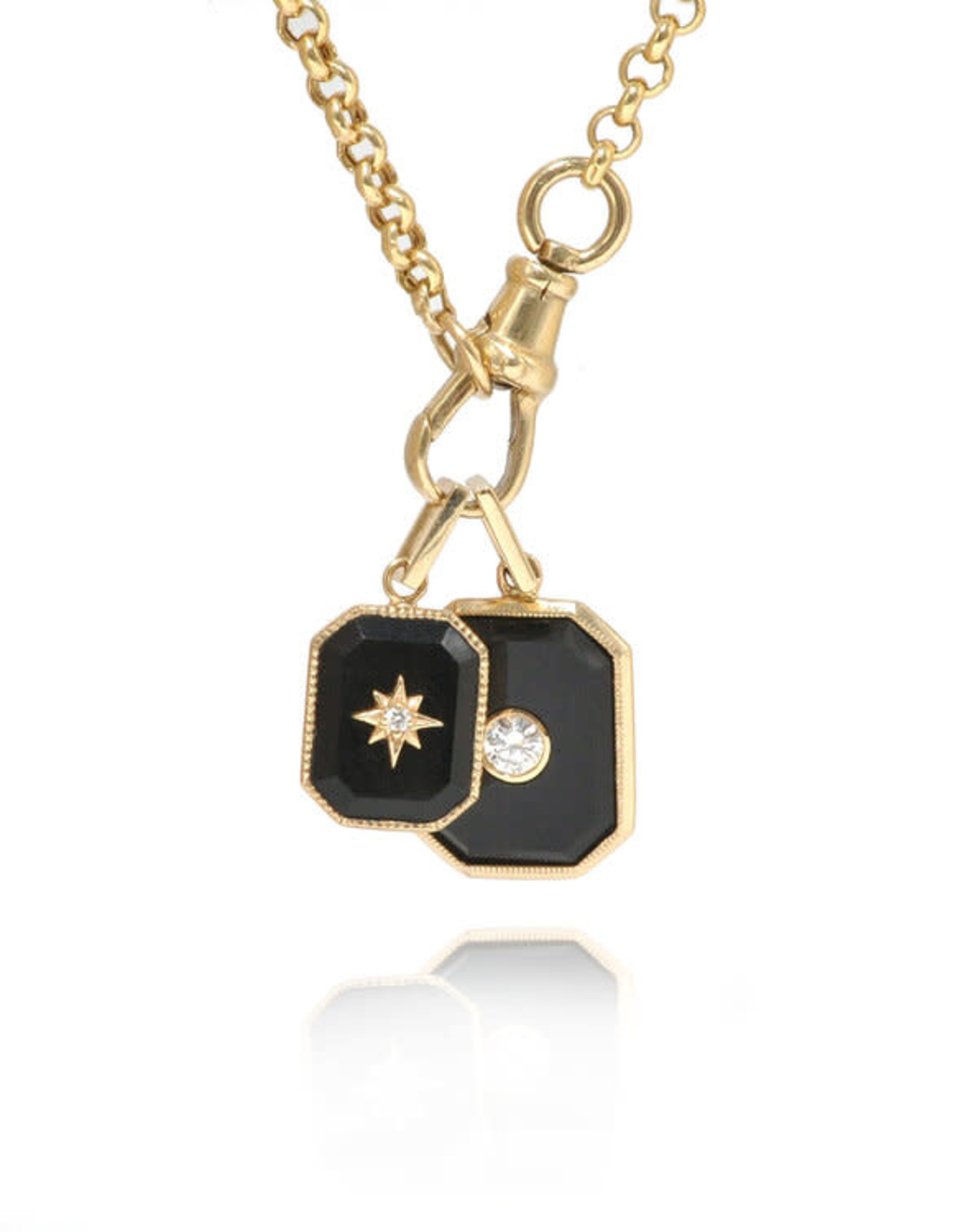 Ashley Zhang Jewelry Onyx Diamond Bezel Charm