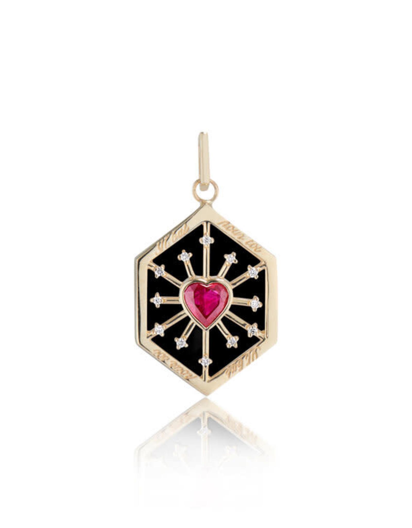 Ashley Zhang Jewelry Enamel Ruby Heart Love Token