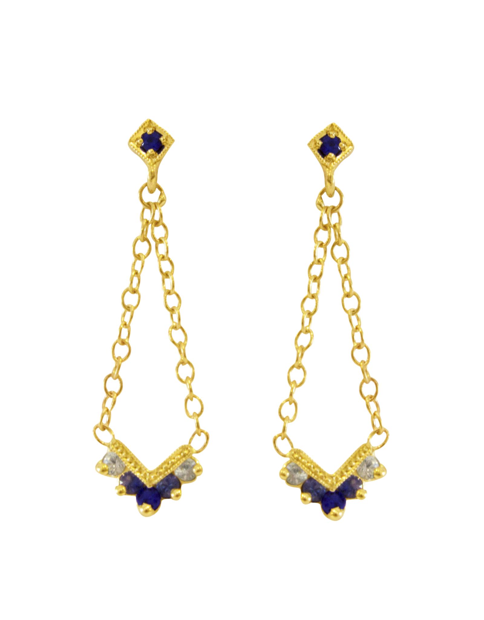Mason Grace Jewelry Chevron Blue Ombre Chandelier Earrings