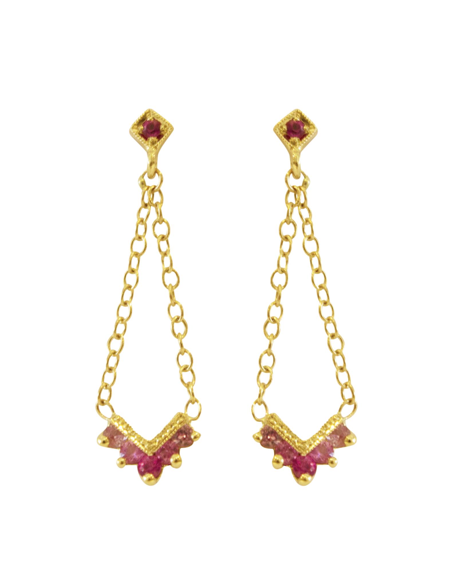 Mason Grace Jewelry Chevron Pink Sapphire Ombre Chandelier Earrings