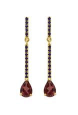 Mason Grace Jewelry Sticks and Stones Pear Earrings - Rhodalite Garnet + Blue Sapphire