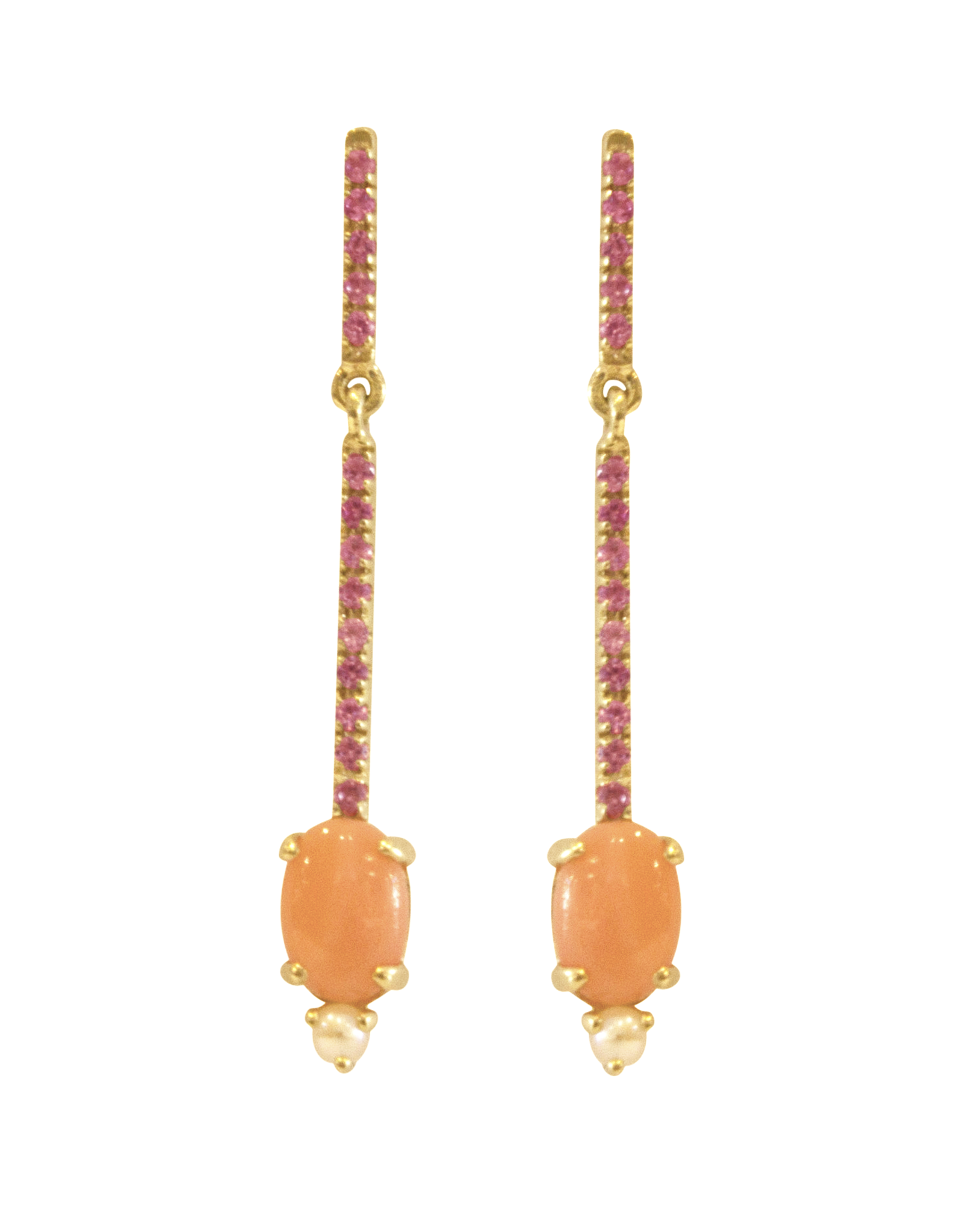 Mason Grace Jewelry Sticks and Stones Oval Earrings - Coral + Pink Sapphire + Pearl