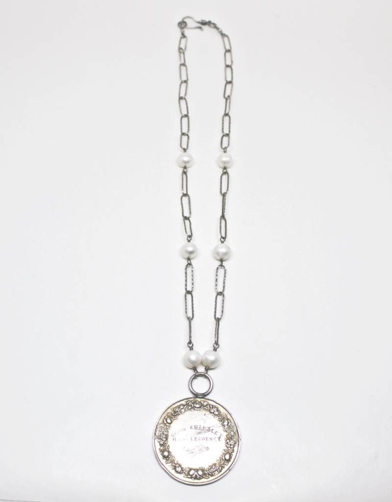 Mary James Antique Marriage Medal Necklace