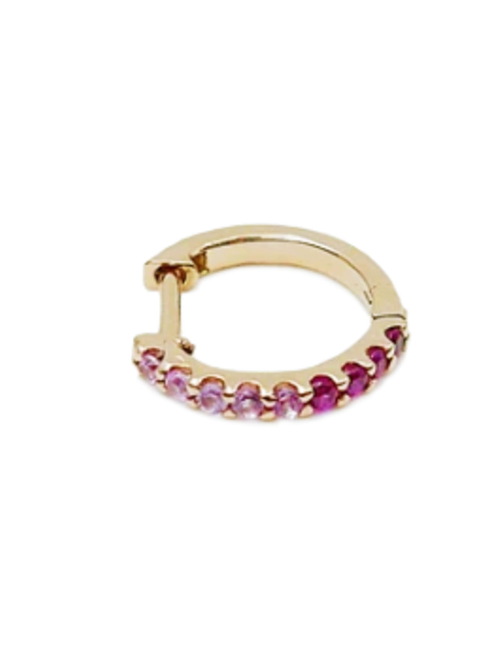 Mason Grace Jewelry Mini Bicolor Hoop - Pink Sapphire + Ruby