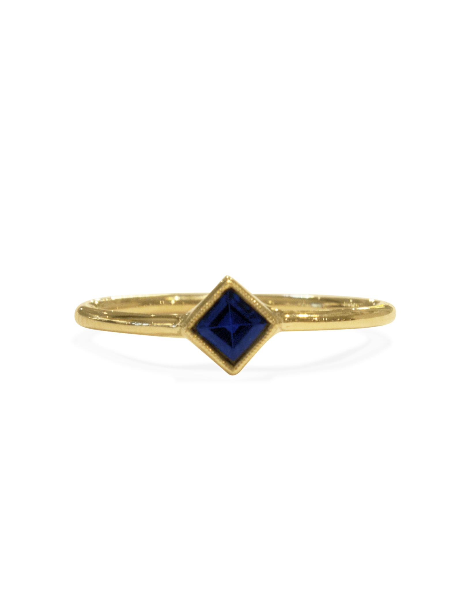 Mason Grace Jewelry Square Bezel Blue Sapphire Ring