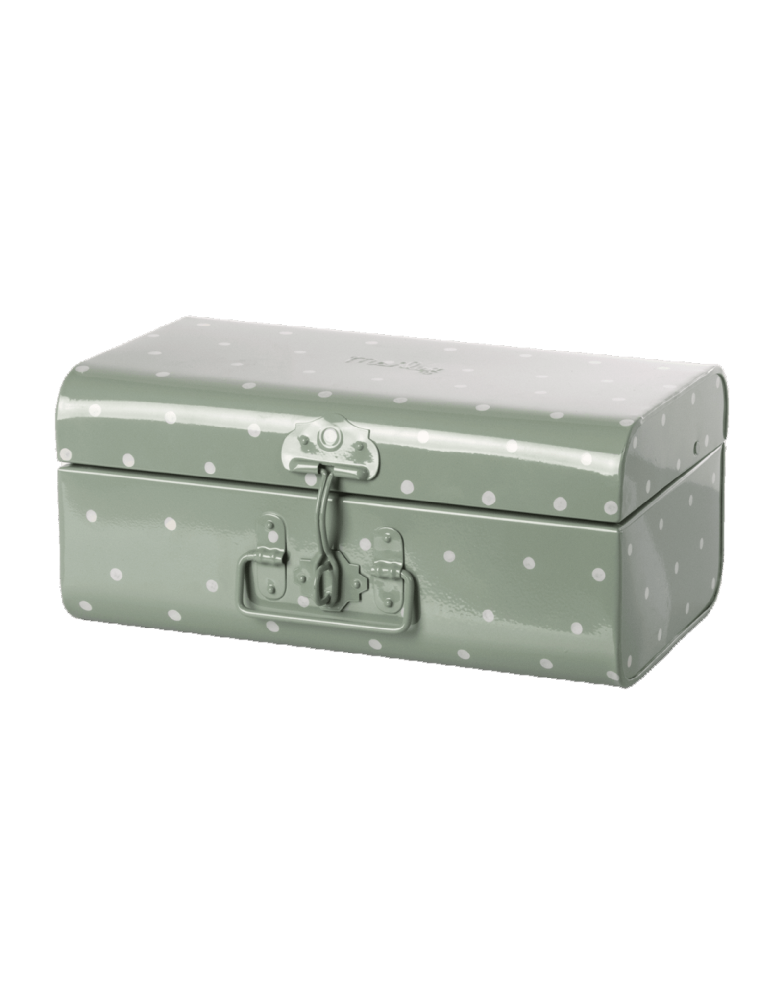 Maileg Small Storage Suitcase - Dusty Green + Polkadots