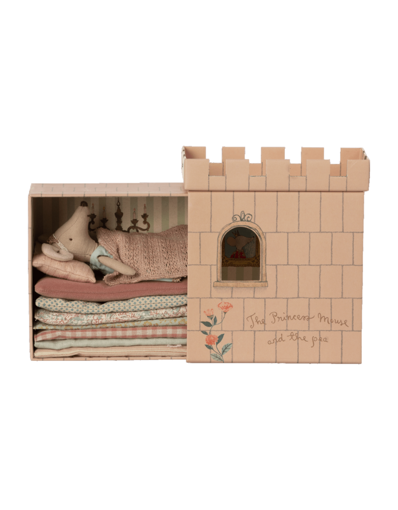 Maileg Princess and the Pea Big Sister Mouse - Dusty Peach