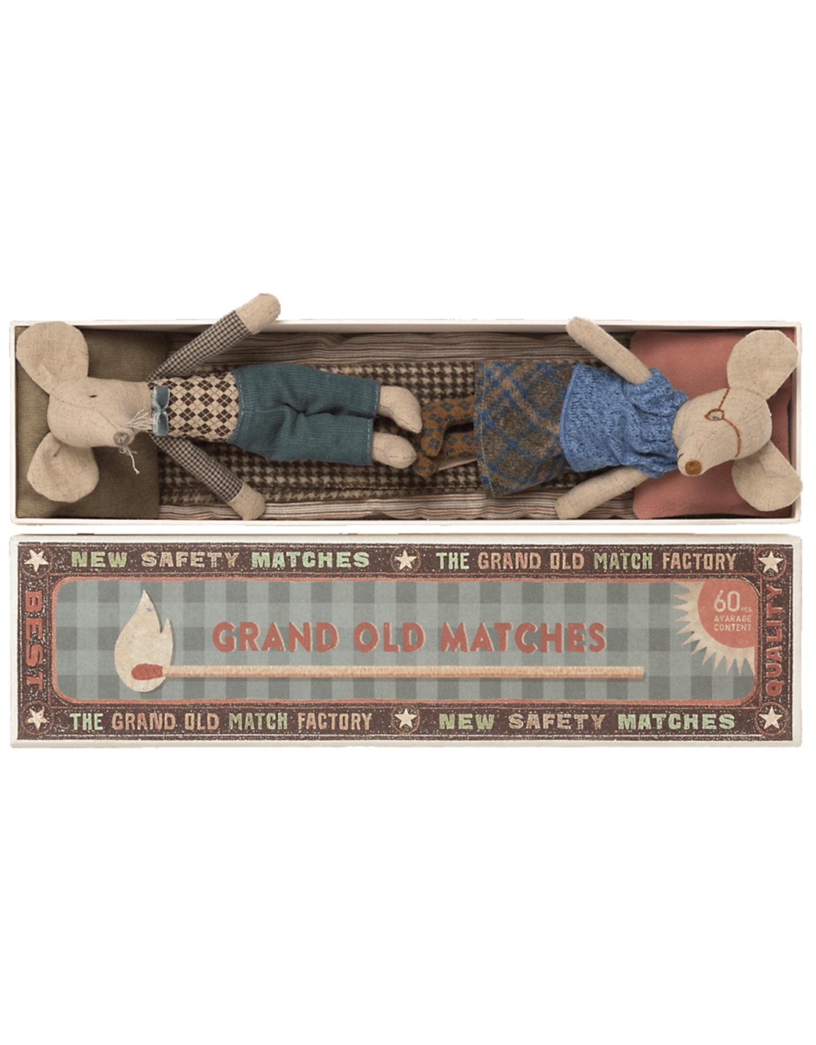 Maileg Grandma + Grandpa Mice in Long Matchbox