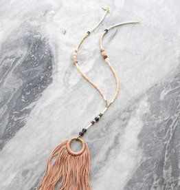 Ink + Alloy Georgia - Brass Ring with Coral Fringe Rosary Necklace