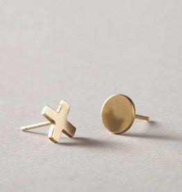 MulXiply XO Stud Earrings - Brass