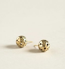 MulXiply Moon Stud Earrings - Brass