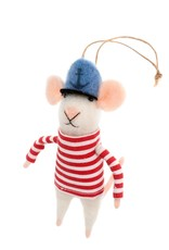 Indaba Sailor Squeaks Mouse Ornament