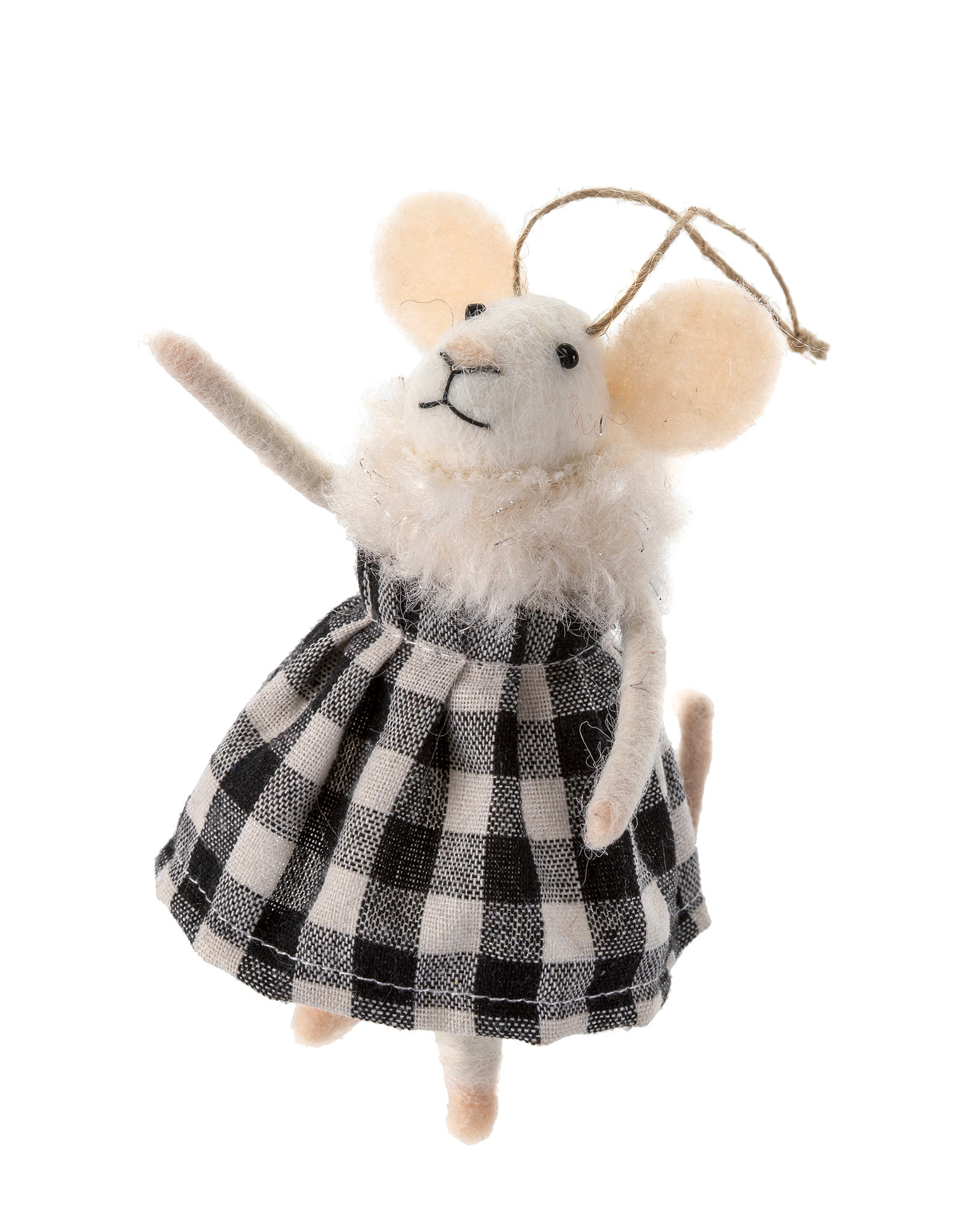 Indaba Gingham Grace Mouse Ornament