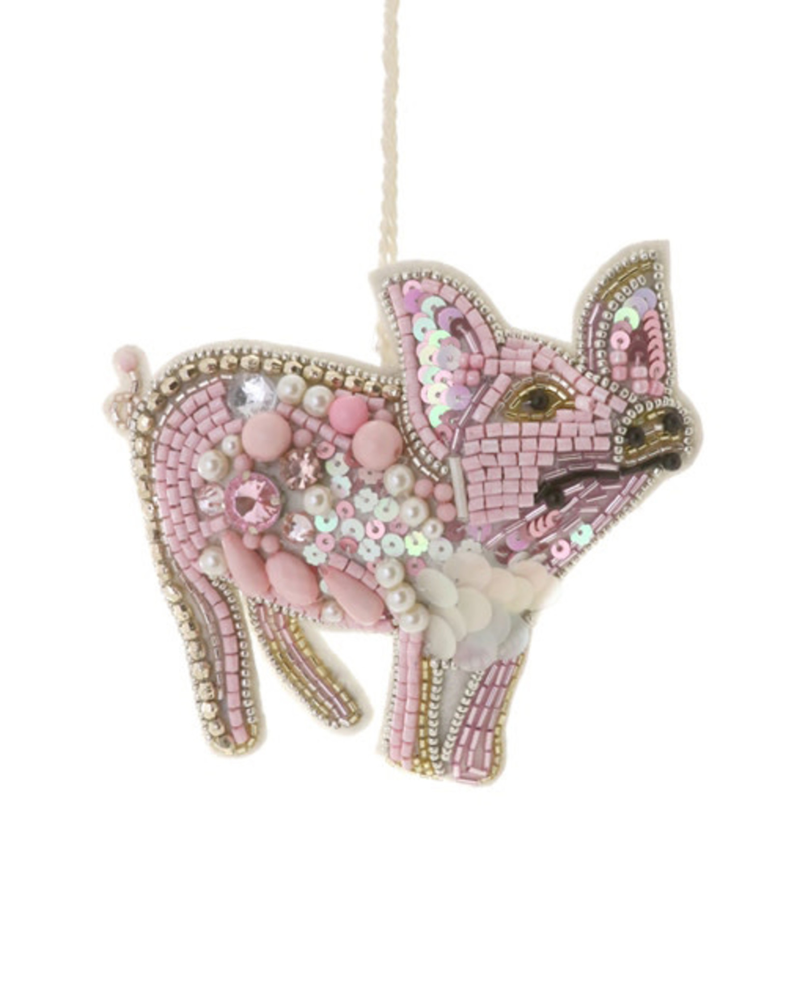 Cody Foster & Co. BEADED PIG ORNAMENT