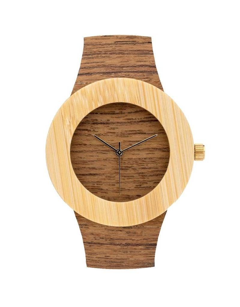 Analog Watch Co. Teak and Bamboo - No Hour Markings