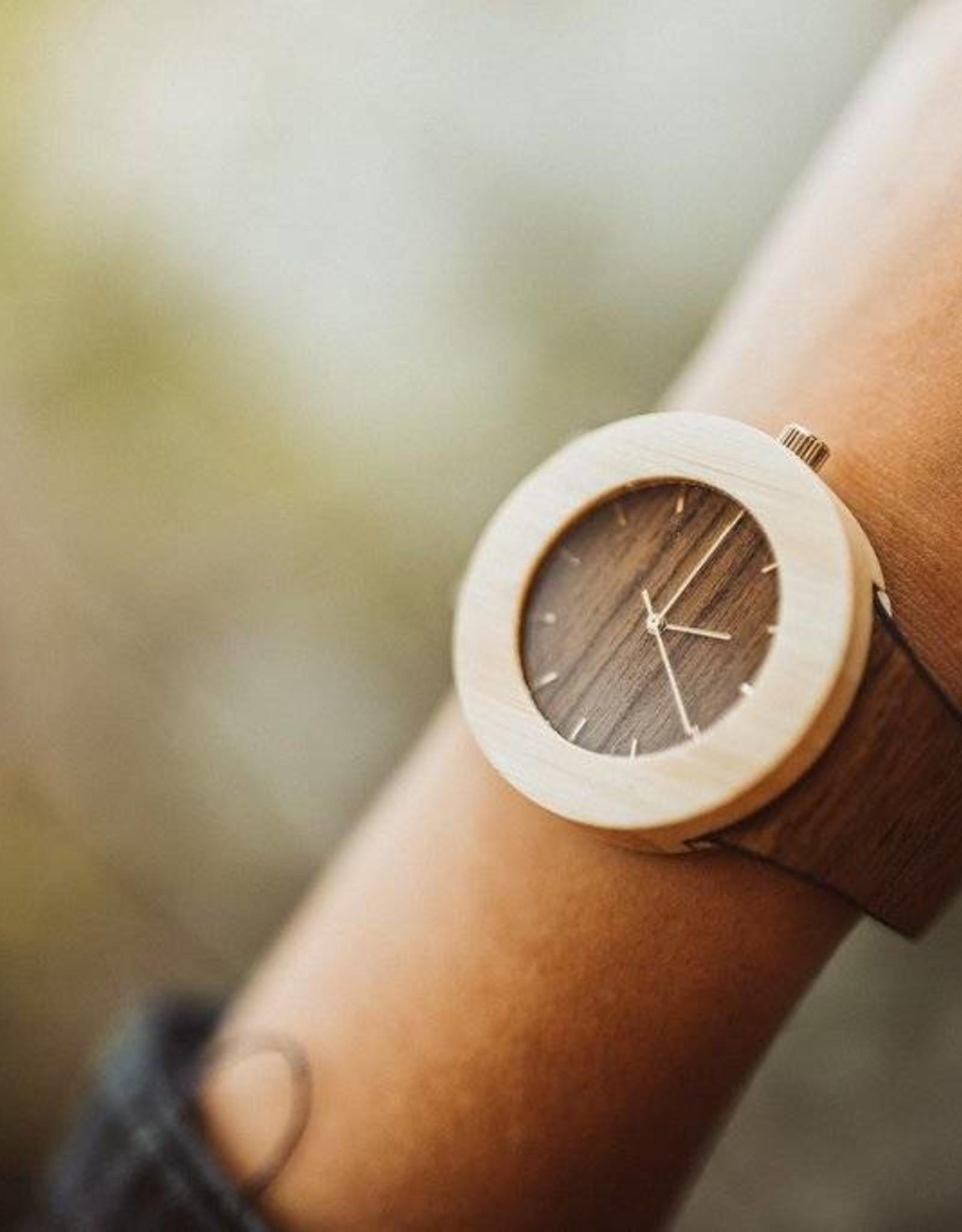 Analog Watch Co. Teak and Bamboo - No Hour Markings