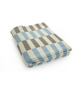 Checkered Throw - Stone + Aqua