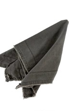 Indaba Frayed Edge Napkin - Dark Grey