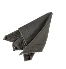 Frayed Edge Napkin - Dark Grey