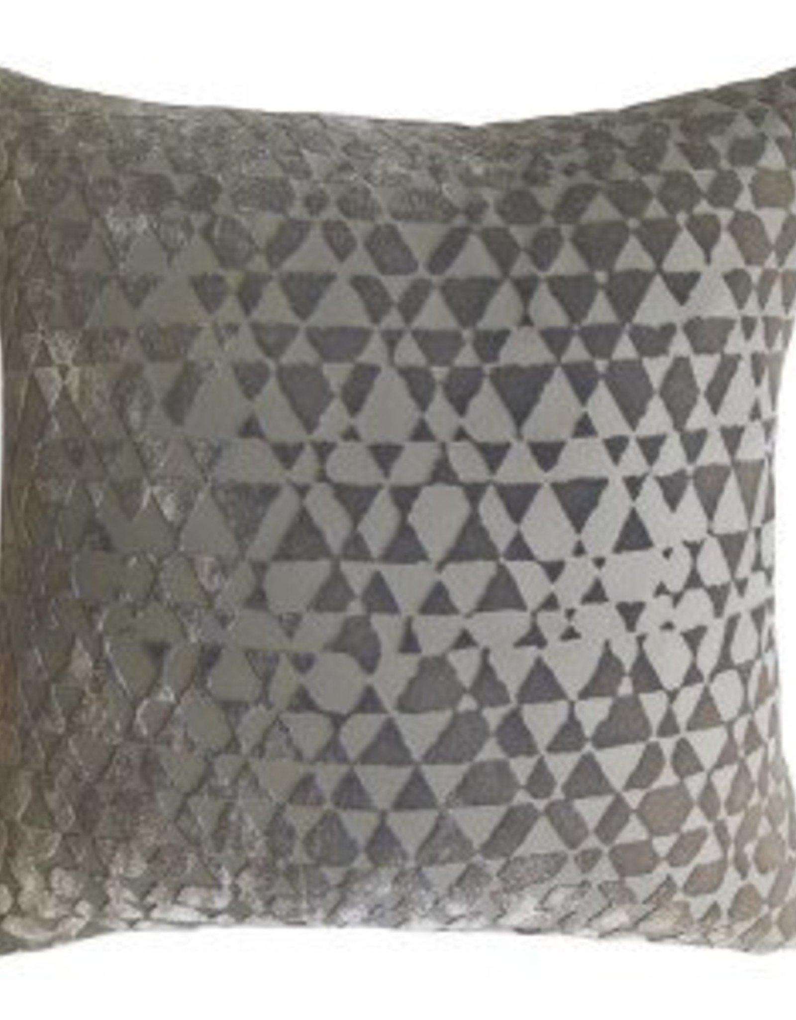 Kevin O'Brien Studio Triangles Silk Velvet Pillow - Nickel