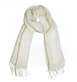 Golden Edge Linen Scarf
