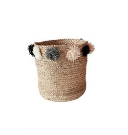 Small Jute Braided Basket with PomPoms