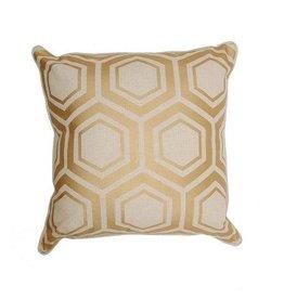 Geometric Linen Pillow - Gold