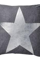 Dark Grey Melange Pillow with Silver Star