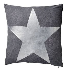 Dark Grey Melange Pillow with Silver Star