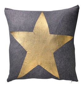 Dark Grey Melange Pillow with Gold Star