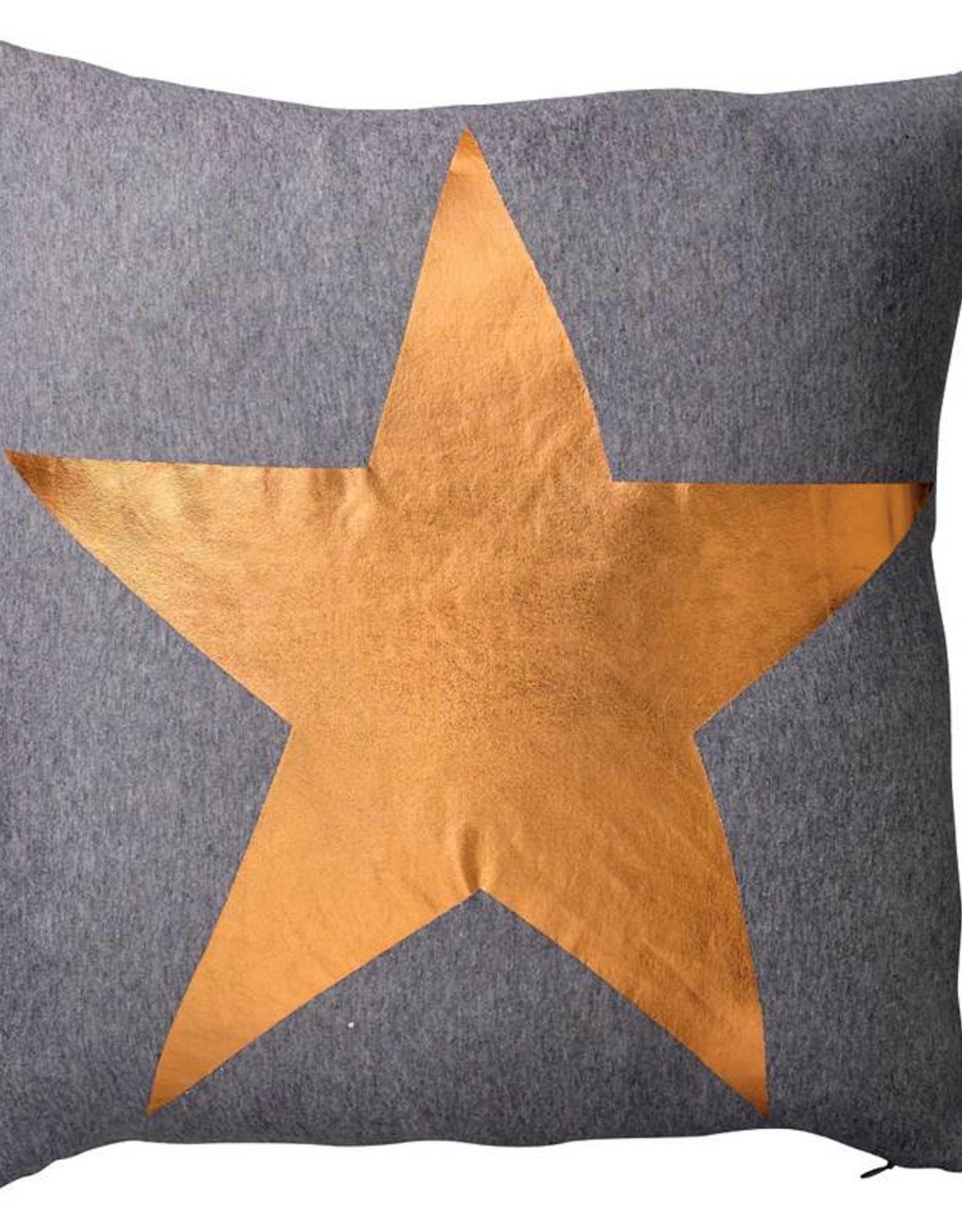 Dark Grey Melange Pillow with Copper Star